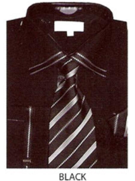 SKU#BP122 Mens trimmed french cuff dress shirt Black $65