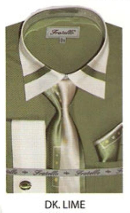 SKU#IU400 Mens trimmed on collar french cuff dress shirt Dark Lime $65