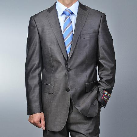 SKU#SX1526 Men's Metallic Grey 2-button Suit
