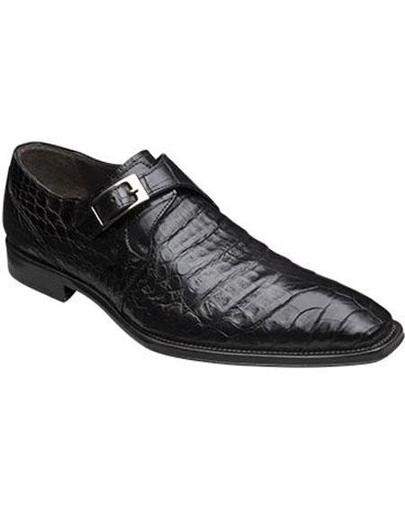 Buy GD328 Men's Mezlan Handmade Black Unique Monk Style Strap Genuine Crocodile Shoes Authentic Mezlan Brand
