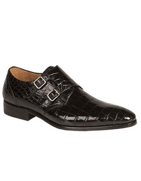 Buy GD281 Men's Mezlan Black Agra Genuine World Best Alligator ~ Gator Skin Double Monk Strap Leather Sole Shoe Authentic Mezlan Brand