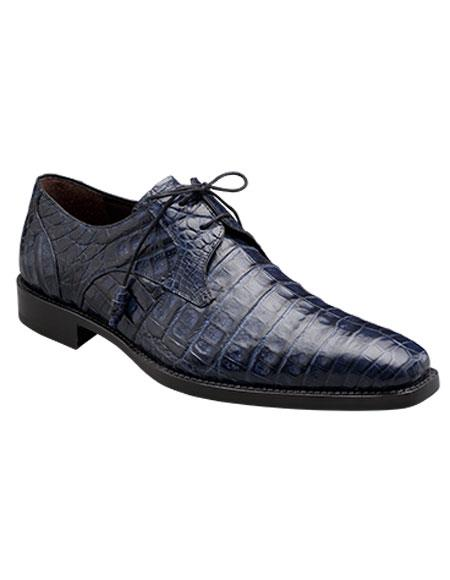 Buy GD322 Men's Mezlan Blue Authentic Crocodile Lace Italian Style Shoes Authentic Mezlan Brand