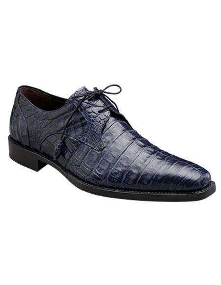 Buy GD322 Men's Mezlan Blue Authentic Crocodile Lace Italian Style Shoes Authentic Mezlan Brand