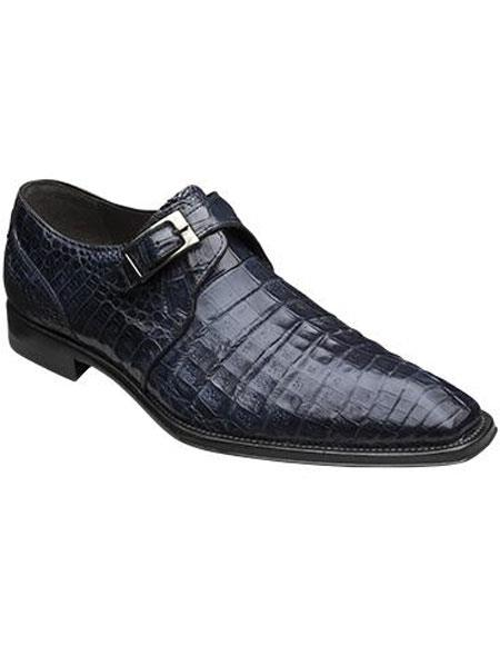 GD331 Men's Mezlan Blue Monk Inspired Style Authentic Crocodile Leather Shoes Authentic Mezlan Brand