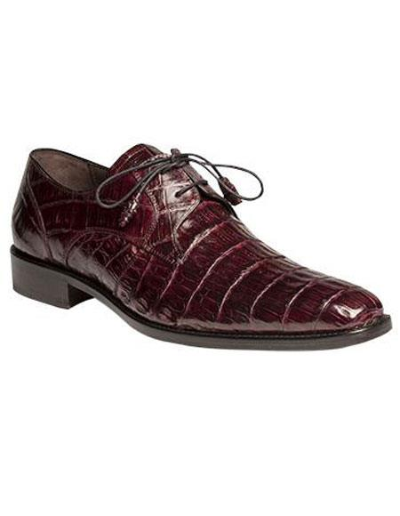 Buy GD325 Men's Mezlan Fully Leather Burgundy ~ Wine ~ Maroon Color Full Crocodile Lace Dress Shoes Authentic Mezlan Brand