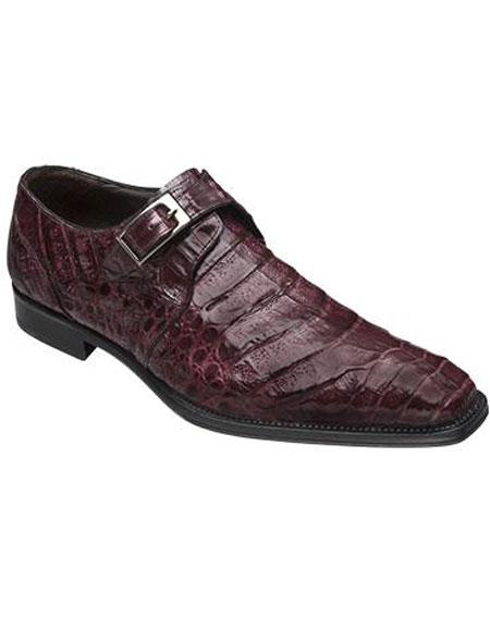 Buy GD330 Men's Mezlan Burgundy ~ Wine ~ Maroon Color Real Deal Monk Buckle Crocodile Toe Style Shoes Authentic Mezlan Brand