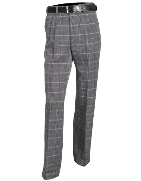 Mens Gray Microfiber Poly/Rayon Double Pleat Plaid Pattern Dress Pants unhemmed unfinished bottom