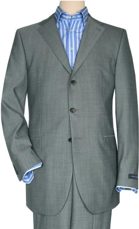 SKU# ML320 Mid Gray Business Men Suit Super 150 Wool 3 buttons premier quality italian fabric Design