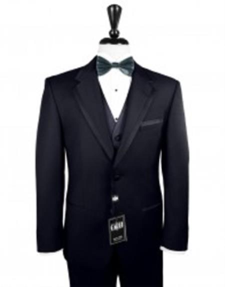 Tuxedo with Satin Framed Edge Navy ~ Midnight Navy blue