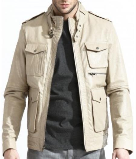 Mens Military Inspired Leather Field Big and Tall Bomber Jacket With A Slim Cut Body