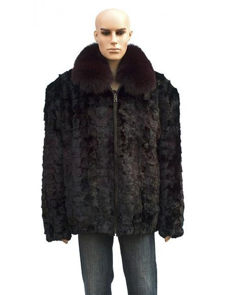 Buy GD865 Men's Fur Burgundy ~ Wine ~ Maroon Color Front Paws Jacket Fox Collar