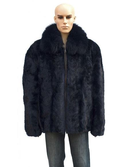 Buy GD868 Men's Fur Genuine Mink Navy Blue Front Paws Jacket Fox Collar
