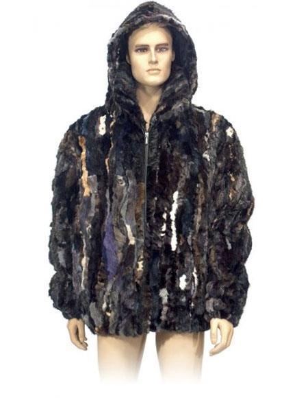 Mens Fur Multi-Color Genuine Pieces Mink Pull Up Zipper Jacket