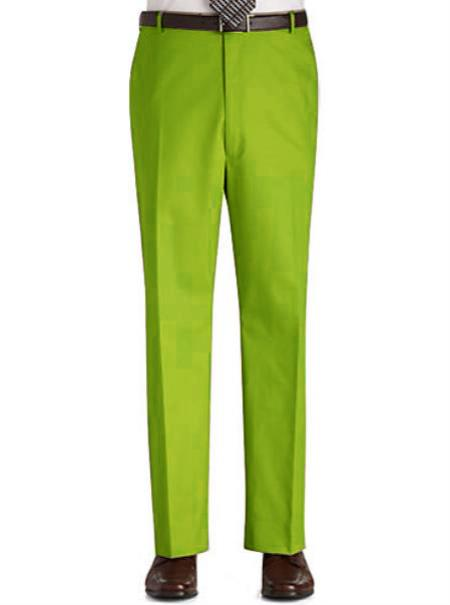 SKU#UJ88 Stage Party Pants Trousers Flat Front Regular Rise Slacks - lime mint Green ~ Apple ~ Neon Bright Green