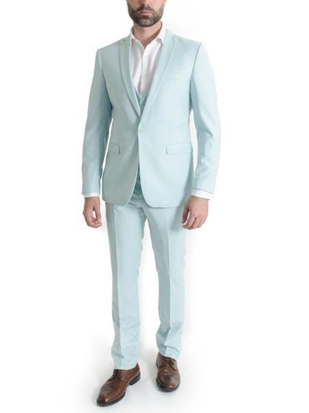 Mens 3 Piece Narrow Peak Lapel Mint Slim Fit Spring Suit (Jacket & Pants only )