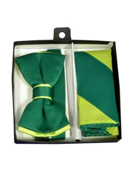 Mens Mint / Emerald Polyester Satin dual colors classic Bowtie with hankie