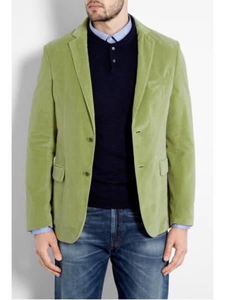 Mens Mint ~ Lime Green Velvet Blazer  Sport Coat Jacket