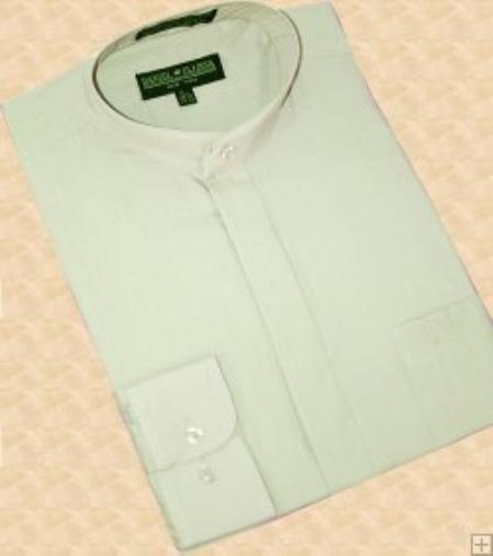 SKU#SA555 Mint Green Banded Collar Cotton Blend Dress Shirt $39