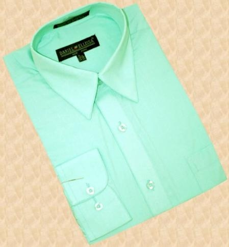 SKU#MC100 Mint Green Cotton Blend Dress Shirt With Convertible Cuffs $49