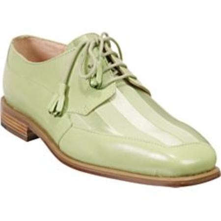 green genuine crocodile and ostrich style casual shoes