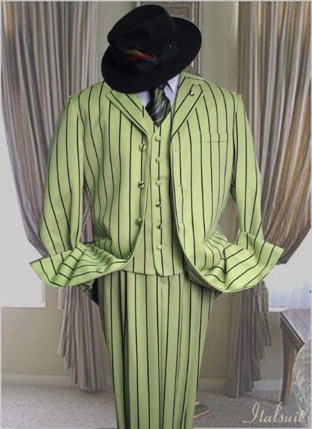 SKU#AL963 Mint With Black Stripe 3PC Wide Pinstripe Fashion Zoot Suit $175
