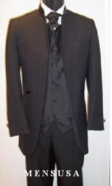 SKU# Mirage No Button Collar Less No Button Mandarin Tuxedo Suit $199