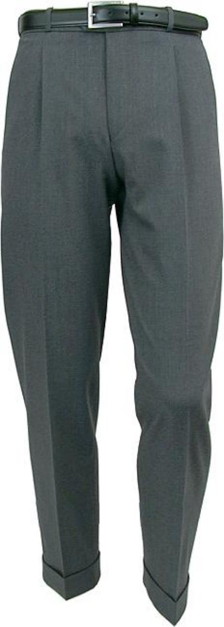 SKU# ARG243 Mizzani Light Gray Pleated Super 120s Wool premier quality italian fabric Dress Slacks