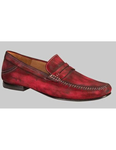 Buy GD474 Men's Red Antiqued Italian Moc Toe Loafer Shoes Authentic Mezlan Brand