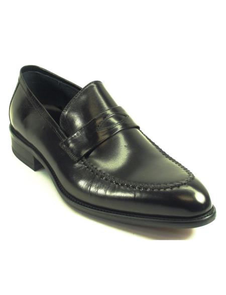 Carrucci Men's Genuine Moccasin Leather Black Slip On Black Dress Shoe