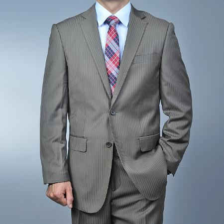 Men's Mocha Shadow Stripe ~ Pinstripe ~ Taupe ~ Slate Color 2-button Cheap Priced Business Suits Clearance Sale