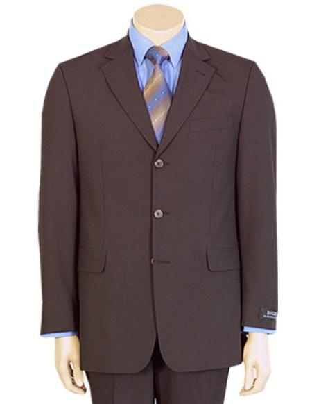 SKU# L599 Fine Mens Modern Brown 100% Pure year round Wool 2/3 buttons Suit