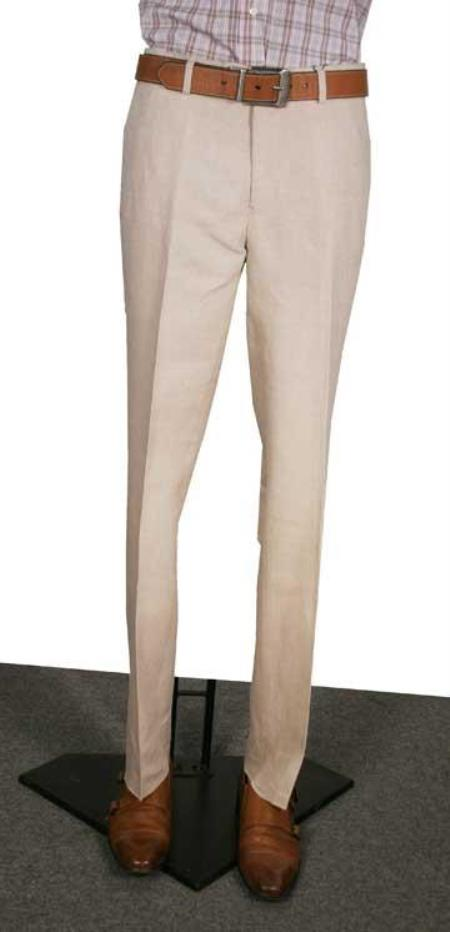 Mens Modern Fit Flat Front Pants Natural