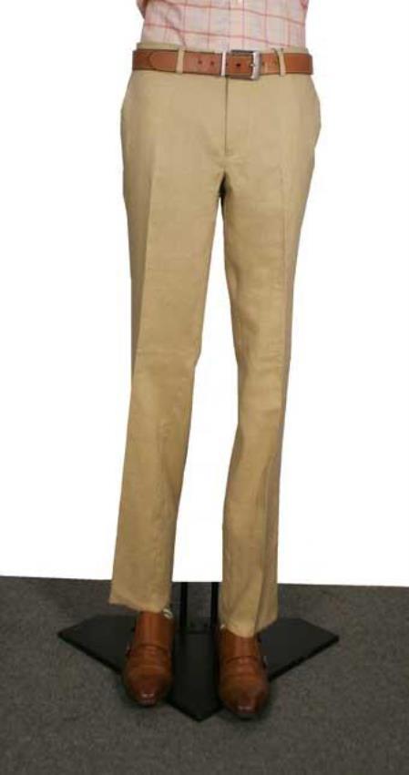 Mens Modern Fit Flat Front Mens Tapered Mens Dress Pants Tan