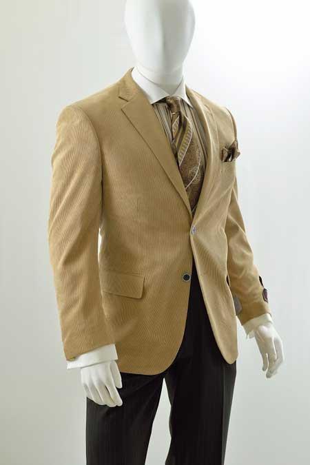 Mens Corduroy Blazer - Modern Fit Khaki ~ Tan ~ Beige