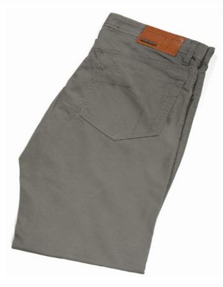 Buy SM2415 Tiglio Men's Flat Front Casual Modern Fit Sateen Cotton Monaco Grey Pant