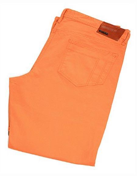 Buy SM2410 Tiglio Monaco Orange Men's Sateen Cotton Flat Front Casual Modern Fit Pant