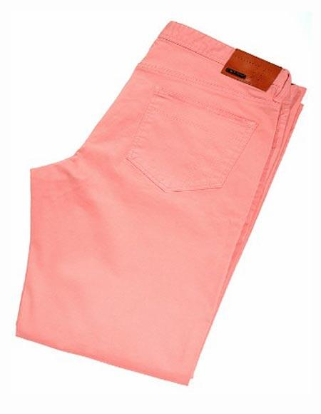 Buy SM2416 Tiglio Men's Monaco Pink Modern Fit Sateen Cotton Flat Front Casual Pant