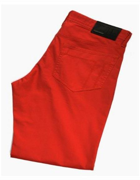 Buy SM2412 Tiglio Men's Sateen Cotton Modern Fit Flat Front Casual Pant Monaco Red