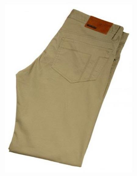 Buy SM2419 Tiglio Men's Monaco Tan Casual Modern Fit Flat Front Pant