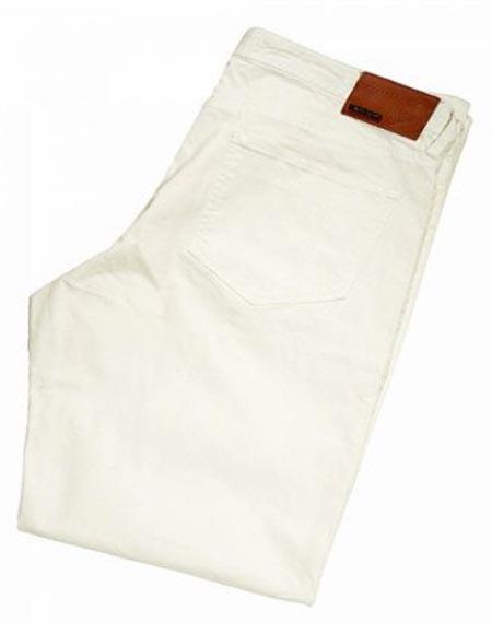Buy SM2414 Tiglio Men's Monaco White Modern Fit Casual Flat Front Pant