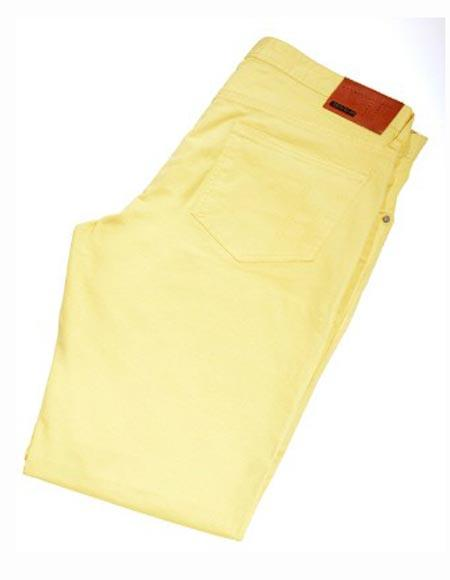 Buy SM2407 Tiglio Men's Modern Fit Monaco Yellow Casual Flat Front Pant