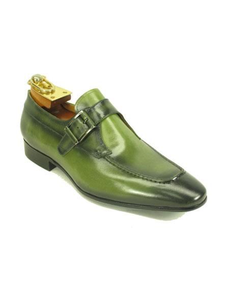Mens Fashionable Jade Buckle Slip-On Loafer Monk Strap Leather Shoes