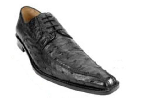 Belvedere Monza made of Genuine Quill Ostrich in Black $399