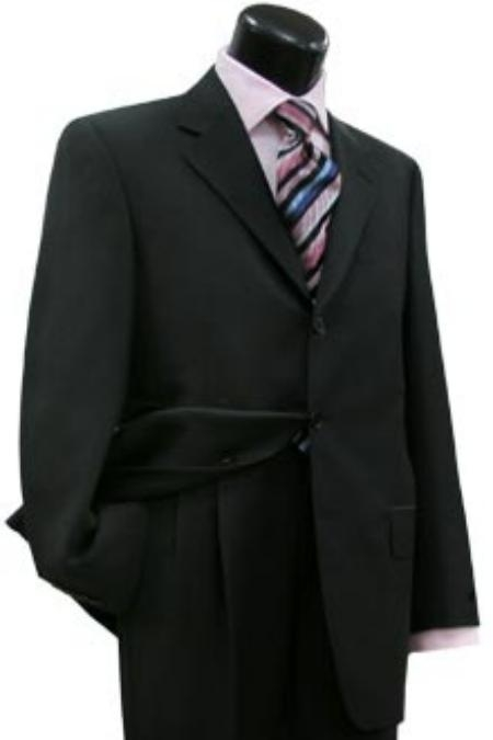 SKU# QJM162 Movie Suit, Dark Black Double Vent 3 Button Suit Made From Amazing Quality Super 130s Wool Suit $13