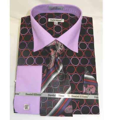 Buy SM1855 Men's 100% Cotton Bold Circle Multi Pattern Black Lilac French Cuff Dress Shirt