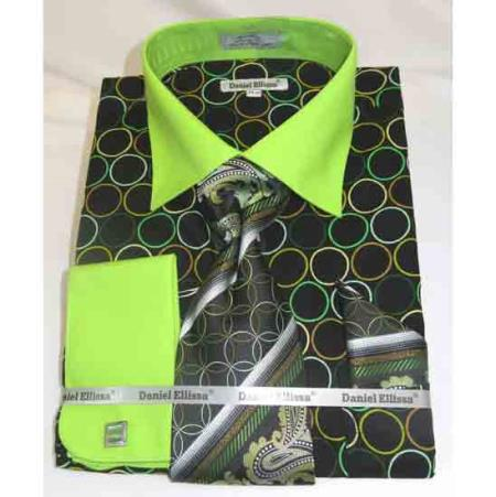 Circle Multi Pattern Black Green Cotton French Cuff Men's Dress Shirt