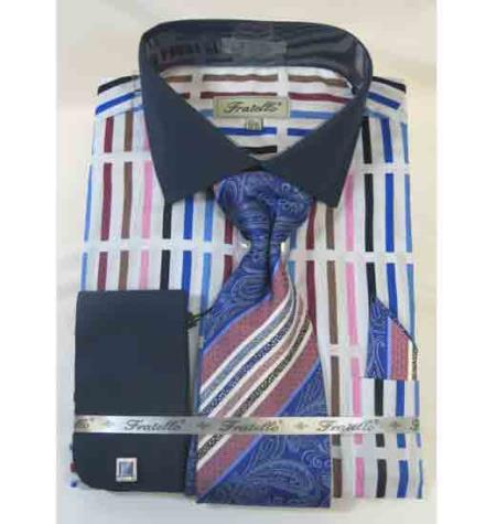 Stripe Multi Pattern 100% Cotton French Cuff Blue Multi Men's Dress Shirt