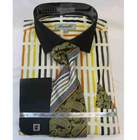 100% Cotton Soft Butter Multi Stripe Multi Pattern French Cuff Mens Dress Shirt