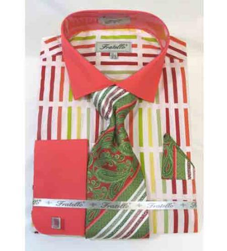 Mens Stripe Multi Pattern Coral Multi Cotton French Cuff Dress Shirt Salmon ~  Melon ~ Peachish Pinkish Color