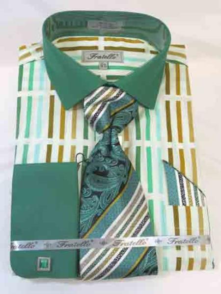 Mint Forest Multi Men's  Stripe Multi Pattern Cotton French Cuff Men's Dress Shirt